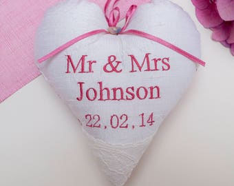 Mr & Mrs Silk Wedding Heart -personalised wedding gift -silk lavender heart - couples names and date gift - Anniversary Gift - Wedding Heart