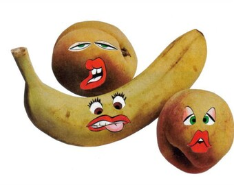 Funny Fruit Art Collage, Silly Wall Art, Freaky Fruity Artwork, Anthropomorphic Food Still Life
