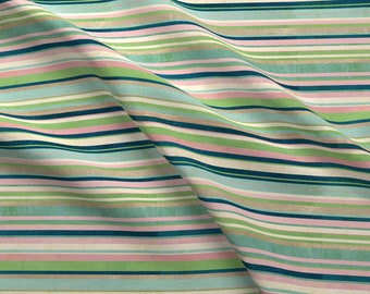 Multicolored Stripe Fabric - Going Home Stripes By Katherine Quinn - Stripes Green Blue Pink Geo Cotton Fabric By The Yard With Spoonflower