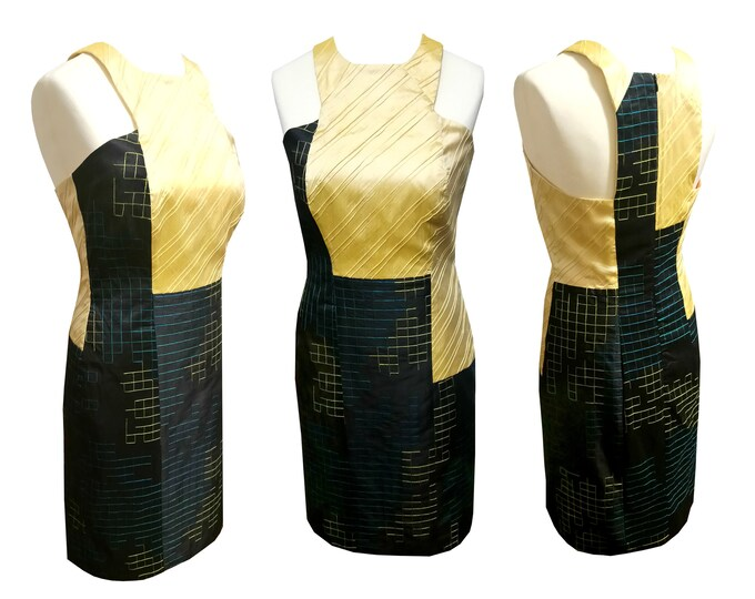 Tank Top dress shantung silk yellow black turquoise festive occasions