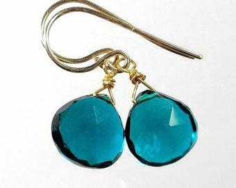 Teal Drop Earring Teal Earring Teal Quartz Earring Teal Briolette Earring Gold Filled Sterling Silver