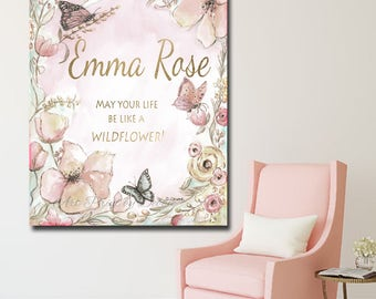 Personalized Canvas Art For Girl, Butterflies & Flowers, Blush Pink and Gold, Vintage Shabby Chic, 5 Sizes, Museum Wrapped Canvas, Baby gift