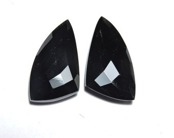 2 Pcs Very Beautiful Natural Black Onyx Faceted Fancy Shape Loose Gemstone Beads Size 25X14 MM