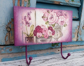 Shabby Chic Hook,Pink Wall Hook,Shabby Kitchen Towel Hanger,Pink Bedroom Hook,Pink Flowers Wall Hook,Wooden Shabby Hanger,Pink Roses Hook