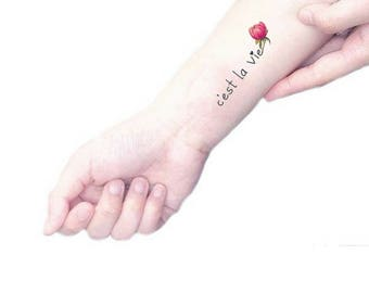 "Temporary tattoo ""C'est la vie"" & Pink Peony / Symbol of Affection / Gift for Green thumb Friend / Skin Message / fake tattoo calligraphy"