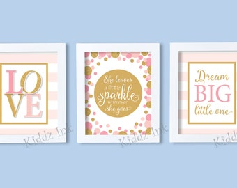 Set of Three Love, Dream Big, and She Leaves a Little Sparkle | 8x10 Nursery Printable | Pink & Gold | INSTANT DIGITAL DOWNLOAD