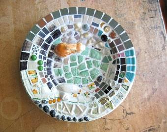 Mosaic Bowl, Bunny Bowl, Eco Friendly, Upcycled Recycled, Broken China Mosaic, Mosaic Art, Woodland Decor, Pique Assiette, OOAK, Rabbit Bowl