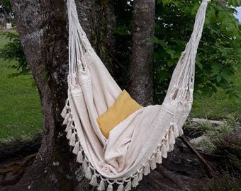 Luxury Hammock Chair, 6 Feet Long, Extra Big Hammock Chair, White Chair,
