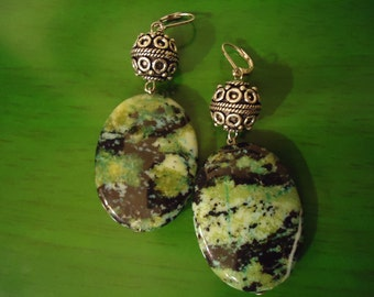 RESERVED Angie Boho Inspired One of a Kind Forest Green In Fantasy Drop Earrings