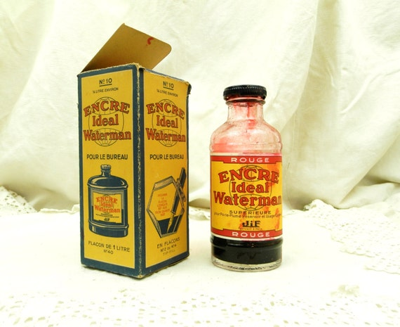 Antique French Waterman Red Ink Bottle with Original Box 1/5th Full Glass Bottle, Encre Ideal Waterman, Collectible Writing Equipment France