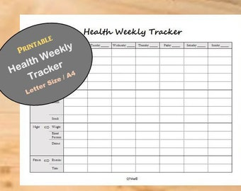Health Weekly Tracker Printable/ Health Weekly Planner/ Weekly Meal Planner/ Weekly Fitness Tracker, from Monday to Sunday Printable