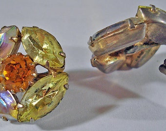 Orange Round Aurora Borealis Rhinestone Vintage 50s Earrings Clip On