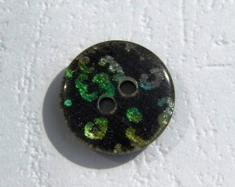set of 2 iridescent multicolored/black 15 mm flat buttons