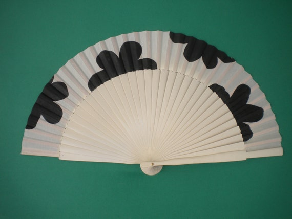 Cream Black Floral Wooden Hand Fan SIZE OPTIONS  Handheld Flamenco Dance Fan by Kate Dengra Spain