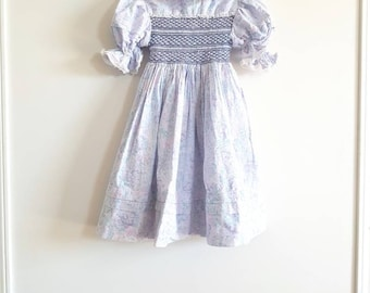 Vintage Blue Smocked Dress