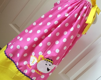 Mrs Potts and Chip Inspired Pink & Yellow Polka Dot Pillowcase Dress