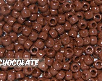 Chocolate, Brown Opaque 6x9 mm Barrel Pony Beads