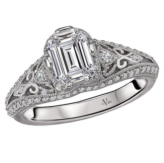 14K White Gold Emerald Cut Diamond Engagement Ring Setting Semi-Mount Mounting Antique Vintage Style
