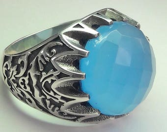925 Sterling Silver Men's Ring with Totally Handmade Real Chalcedony