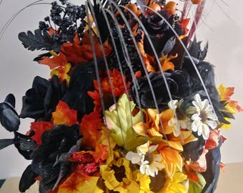 Halloween Centerpiece Halloween Flowers Halloween Crows Halloween Floral Centerpiece Handmade Halloween Wedding Centerpiece Halloween Party