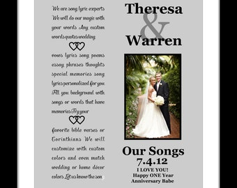 Custom anniversary gift song lyric print any personalized 1st first wedding anniversary gift for him her wife husband couple wedding song lyrics vows present giclee print her him stopboris Images