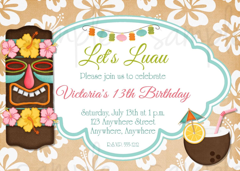 Hawaiian Luau Birthday Invitation Tropical Birthday Summer