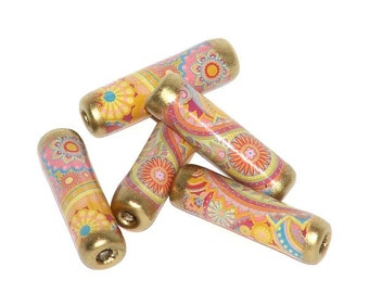 Paper beads - Paisley Pastel - tube beads for jewellery making, paper crafts & fibre crafts