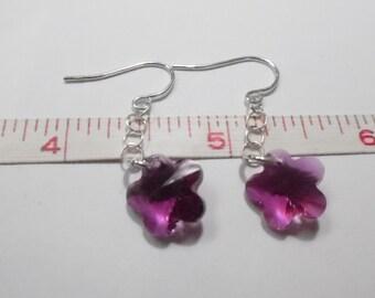 Delicate Sterling Silver and Purple Flower Bead Earrings - Used