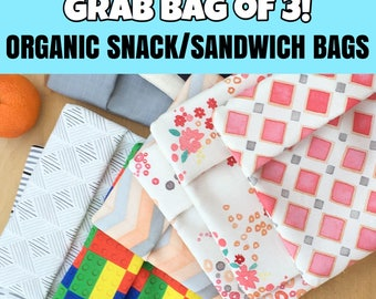 Organic Snack Bags, Sandwich Bags, Reusable, GRAB Bag of 3!