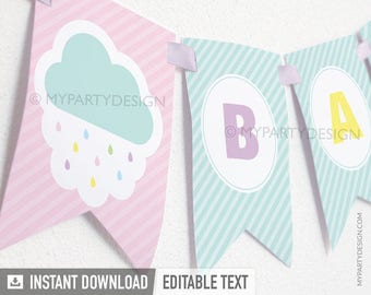 Cloud Baby Shower Banner - Baby Sprinkle - Gender Neutral - INSTANT DOWNLOAD - Printable PDF with Editable Text