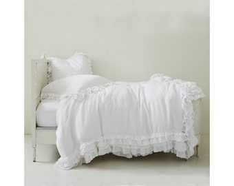 Set of 3 Shabby Prewashed 100% Linen bedding duvet cover comforter water fall ruffle with 2 matching pillowcases White