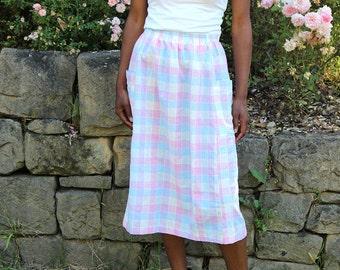 Vintage Lilac Pink and Blue Plaid Midi Skirt