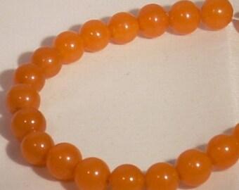 10 round 8mm orange acrylic beads