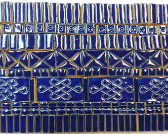 190+ Handmade Ceramic Mosaic Tile Pieces Ceramic Tile Stoneware Oceanic Dark Blue Glazed Craft Tiles Assortment #1