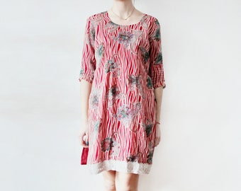 VINTAGE Indian Style Dress Red Indian Dress Red Floral Dress Oversized Indian Dress Oversized Red Stripped Dress Red Rhinestones Dress