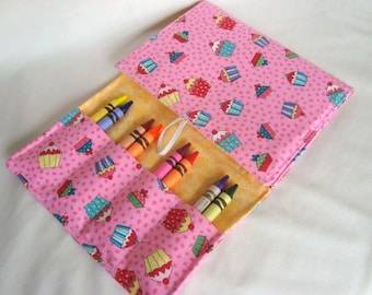 Crayon Tote on the Go / Crayon Wallet / Cupcakes in Pink - Note Pad and Crayons Included