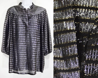 7 Dollar Sale---Vintage 80's AMPLE TOGS California Silver & Black Striped Shirt Top Size 38