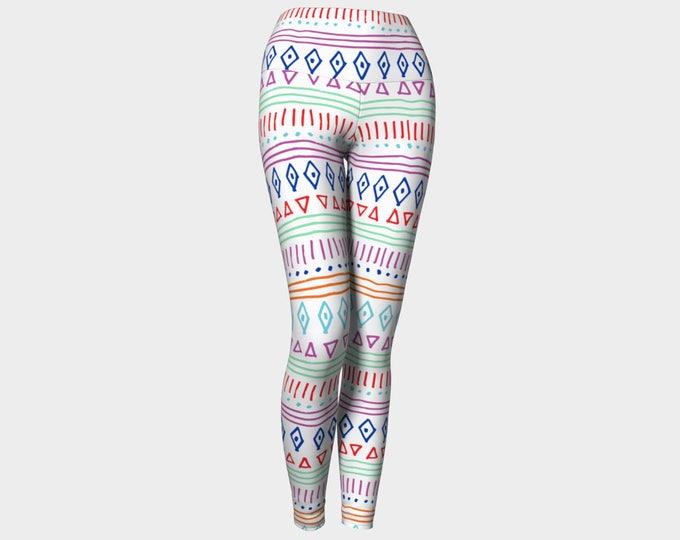 Summer Tribe Yoga Leggings, Geometric Yoga Leggings, Leggings, Blue and Red Leggings, Yoga Leggings, Printed Leggings, Women's Leggings
