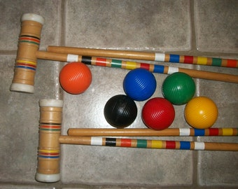 Vintage Croquet Mallets and Balls