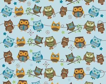 Doohikey Designs, Hooty Hoot Returns, Hooty Roll Call Sky Blue Fabric - Half Yard