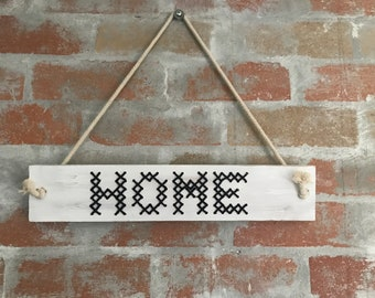 Cross Stitched Wooden 'HOME' sign