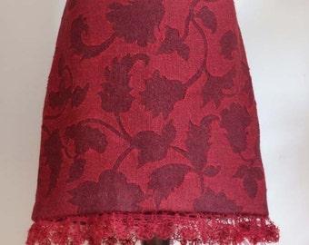 SALE Skirt in marsala ruby red with ornamental leaves, boho skirt, hand crocheted mohair ruffle, wine red skirt, fall skirt, unique skirt