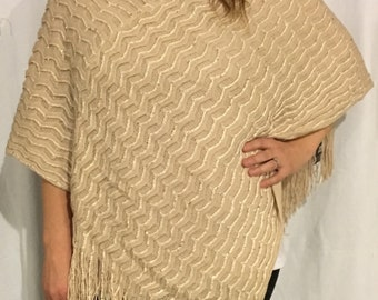 Beautiful tan cable knit cowl neck hooded fringed poncho shaw-with shimmers with monogramming personalization available.  Holiday party time