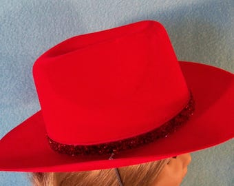 18 Inch Doll Red Cowgirl Hat