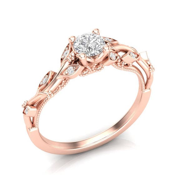 14k Floral Engagement Ring Rose Gold Ring Milgrain Filigree