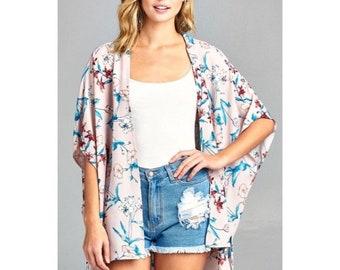 LAST 2! Mauve Floral Print Kimono, floral kimono, pink kimono, floral beach cover up, floral tops, women floral clothing,