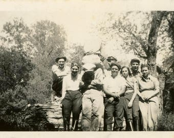 vintage photo 1938 Group of Motorcycle People Sits on his Back