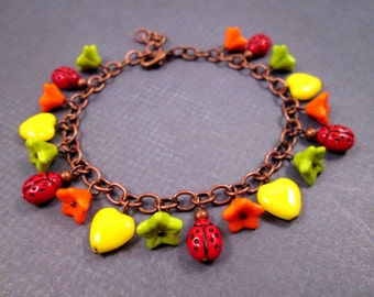 Colorful Charm Bracelet, Ladybugs Flowers and Hearts, Yellow Green Orange Red, Copper Chain Bracelet, FREE Shipping