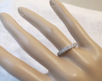 Sterling Silver & CZ Band Ring SZ 7