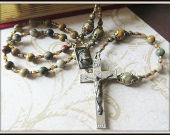 Red Creek Jasper Rosary w/ Bronze Ecce Uomo Center